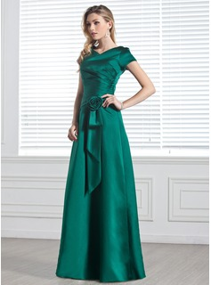 A-Line/Princess V-neck Floor-Length Satin Bridesmaid Dress With Ruffle Flower(s)