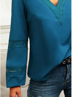 Regular Cotton Blends V-Neck Lace Solid Fitted Blouses