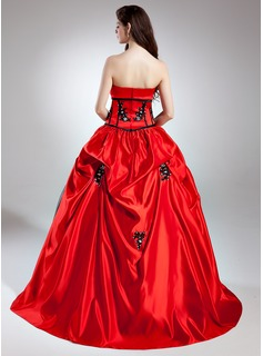 Ball-Gown Scalloped Neck Sweep Train Satin Quinceanera Dress With Beading Appliques Lace Sequins