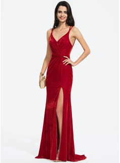 Sheath/Column V-neck Sweep Train Velvet Prom Dresses With Ruffle Split Front