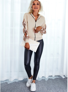 Round Neck Long Sleeves Regular Solid Casual Cardigans