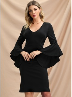 Sheath/Column V-neck Knee-Length Polyester Cocktail Dress