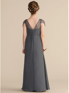 A-Line V-neck Floor-Length Chiffon Junior Bridesmaid Dress With Ruffle Beading