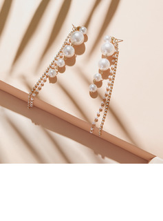 Ladies' Beautiful Alloy Pearl Nrop Earrings Earrings