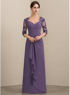 Sweetheart Floor-Length Chiffon Sequined Mother of the Bride Dress With Cascading Ruffles
