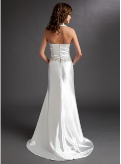 A-Line/Princess Halter Sweep Train Charmeuse Mother of the Bride Dress With Ruffle Beading