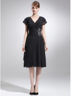 A-Line/Princess V-neck Knee-Length Chiffon Mother of the Bride Dress With Beading Cascading Ruffles