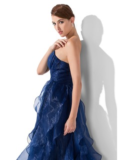 A-Line/Princess Sweetheart Sweep Train Organza Prom Dresses With Cascading Ruffles