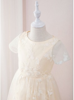 A-Line Tea-length Flower Girl Dress - Lace Short Sleeves Scoop Neck