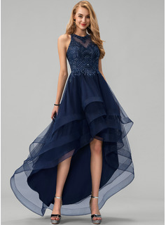 Scoop Neck Asymmetrical Tulle Prom Dresses With Lace Beading Sequins