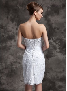 Sheath/Column Strapless Knee-Length Satin Organza Lace Wedding Dress With Beading Flower(s) Sequins