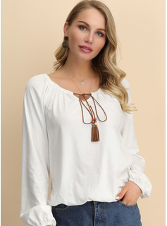 Long Sleeves Cotton Round Neck Blouses