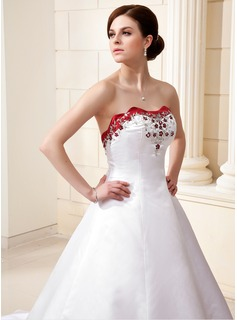 Ball-Gown Sweetheart Cathedral Train Satin Wedding Dress With Embroidered Beading Sequins