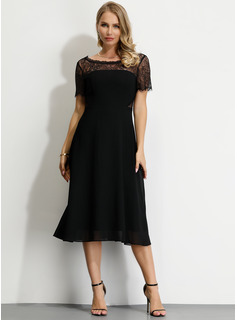 Polyester With Lace/Hollow/Solid Midi Dress