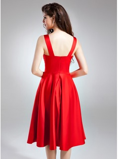 A-Line Sweetheart Knee-Length Satin Bridesmaid Dress With Ruffle