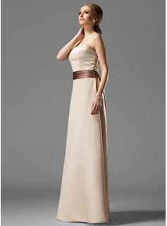 A-Line/Princess Strapless Floor-Length Satin Bridesmaid Dress With Sash