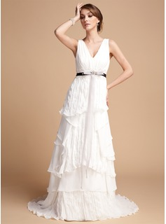 A-Line/Princess V-neck Sweep Train Chiffon Wedding Dress With Sash Beading Appliques Lace Bow(s) Cascading Ruffles Pleated
