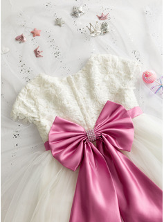 A-Line Tea-length Flower Girl Dress - Satin/Tulle/Lace Short Sleeves Scoop Neck With Beading/Bow(s) (Detachable sash)