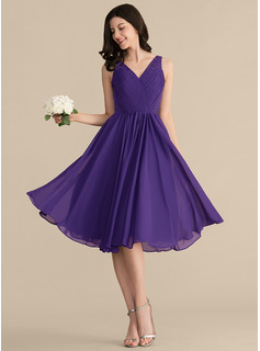 knee length puffy bridesmaid dress