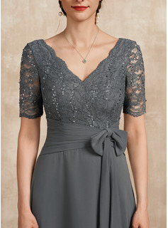 A-Line V-neck Floor-Length Chiffon Lace Mother of the Bride Dress With Sequins Bow(s)