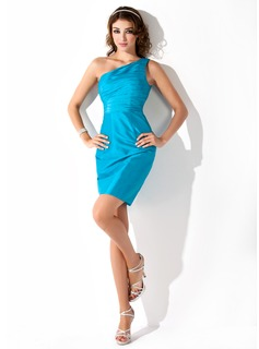 Sheath/Column One-Shoulder Short/Mini Taffeta Homecoming Dress With Ruffle