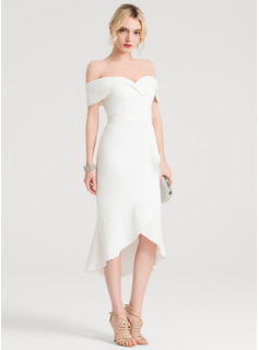 Trumpet/Mermaid Off the Shoulder Asymmetrical Stretch Crepe Cocktail Dress With Ruffle Cascading Ruffles