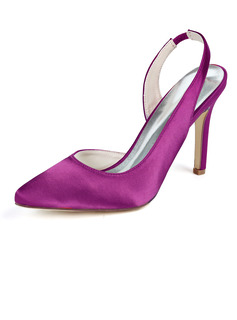 Women's Silk Like Satin Stiletto Heel Pumps With Elastic Band
