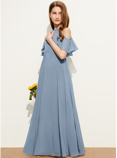 A-Line Scoop Neck Floor-Length Chiffon Junior Bridesmaid Dress With Cascading Ruffles
