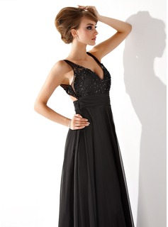A-Line/Princess V-neck Floor-Length Chiffon Prom Dresses With Ruffle Lace Beading