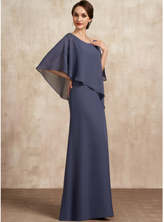 Scoop Neck Floor-Length Chiffon Mother of the Bride Dress With Beading
