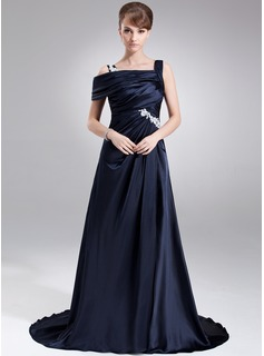 A-Line/Princess Off-the-Shoulder Sweep Train Charmeuse Prom Dresses With Ruffle Appliques Lace Split Front