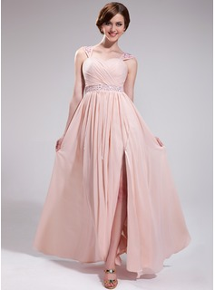 A-Line/Princess Sweetheart Floor-Length Chiffon Prom Dresses With Ruffle Beading Appliques Lace Sequins Split Front