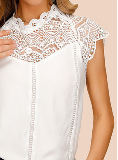 Cap Sleeve Polyester Round Neck Blouses