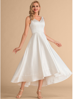 A-Line V-neck Asymmetrical Satin Wedding Dress