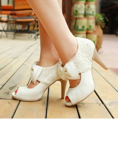 Women's Leatherette Stiletto Heel Boots Peep Toe Pumps With Bowknot Stitching Lace