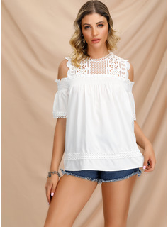 1/2 Sleeves Lace Polyester Cold Shoulder Blouses