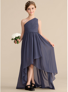 One-Shoulder Asymmetrical Chiffon Junior Bridesmaid Dress With Ruffle