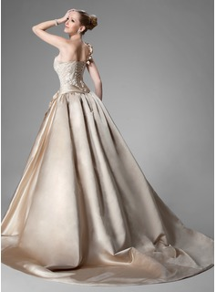 Ball-Gown One-Shoulder Chapel Train Satin Wedding Dress With Ruffle Beading Flower(s)