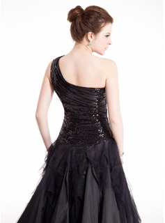 Ball-Gown One-Shoulder Floor-Length Taffeta Tulle Sequined Prom Dresses With Ruffle Cascading Ruffles