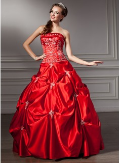 Ball-Gown Strapless Floor-Length Satin Quinceanera Dress With Embroidered Beading Sequins