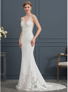 Trumpet/Mermaid V-neck Court Train Stretch Crepe Wedding Dress