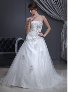 Ball-Gown Sweetheart Chapel Train Charmeuse Tulle Wedding Dress With Ruffle Beading Appliques Lace