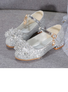 Girl's Closed Toe Microfiber Leather Low Heel Flower Girl Shoes With Beading