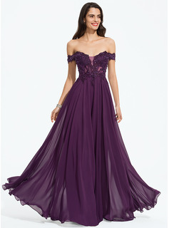 Off-the-Shoulder Floor-Length Chiffon Prom Dresses With Beading Sequins