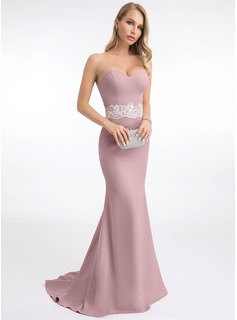 Trumpet/Mermaid Sweetheart Sweep Train Stretch Crepe Evening Dress With Lace