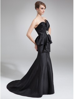 Trumpet/Mermaid Scalloped Neck Court Train Taffeta Mother of the Bride Dress With Cascading Ruffles