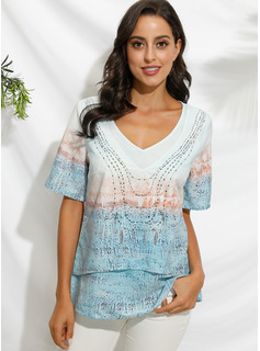 Manches courtes Polyester Col V Blouses