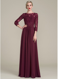 A-Line/Princess Scoop Neck Floor-Length Chiffon Lace Mother of the Bride Dress With Ruffle Beading Sequins