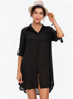 Fashionable Solid Color Polyester Spandex Cover-ups