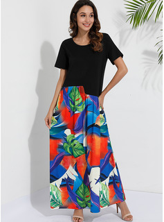 Polyester/Cotton Blends With Print Maxi Dress